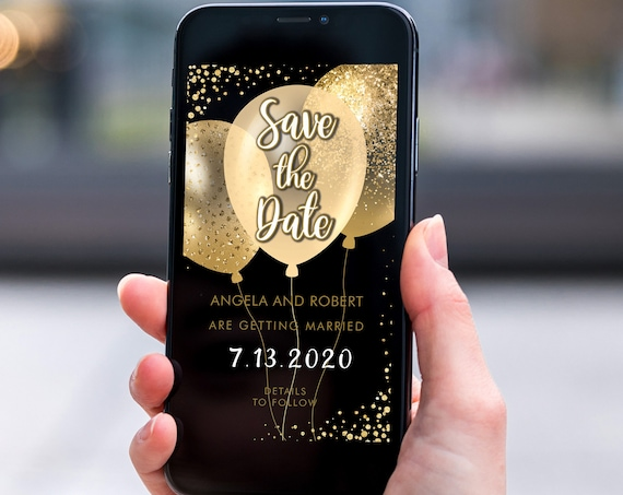 Gold Glitter Balloons Save the Date, Electronic Invite, Glamorous Sparkling Wedding, Smart phone SMS Digital Editable template, Eco Friendly
