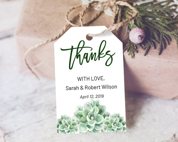 Succulent Thank You Tag, Wedding Favors, Cactus Thank You Tag, Instant Download, Party Thanks Tag, Thanks Label, Southwest Thank You Tag