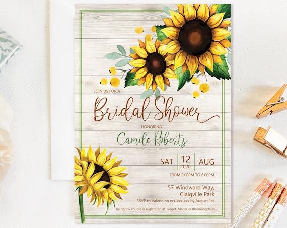 Rustic Sunflower Bridal Shower Invitation, Wood Country Shower Invitation, Printable Bridal Shower, Editable Template, Watercolor Yellow