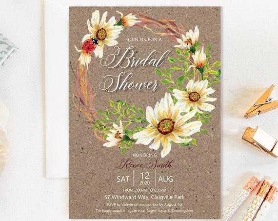 Country Floral Daisy Wreath Bridal Shower Invitation, Kraft Rustic Cream Shower Invitation, Printable Bridal Shower, Editable Template