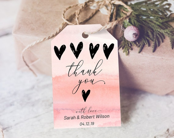 Pink Watercolor Hearts Thank You Tag, Wedding Favors, Thank You Tag, Instant Download, Party Thanks Tag, Pink Thanks, Wedding Thanks