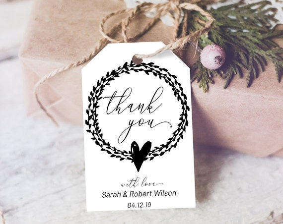 Black and White Thank You Tag, Wedding Favors, Wreath Thank You Tag, Instant Download, Leaf Thanks Tag, Thanks Label, Simple Thank You Tag
