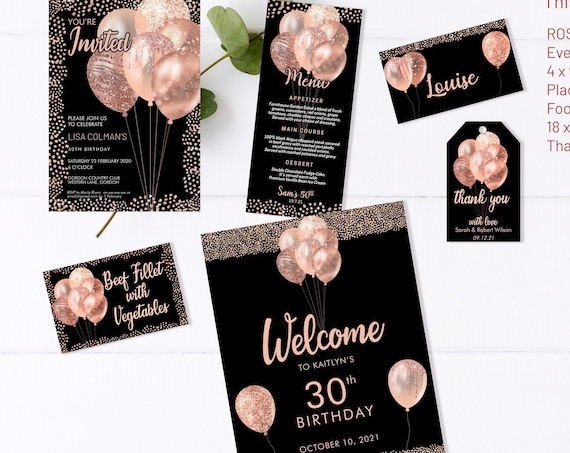 Rose Gold Birthday Balloons Bundle Invitation Printable Template, Black Gold Glitter Editable Party Sign for Women, Menu, Placecard, Tag