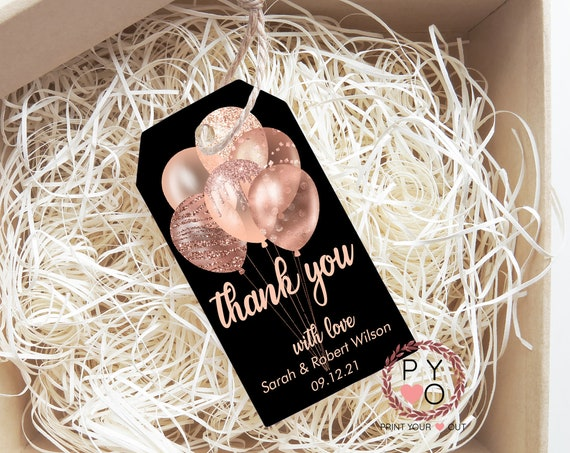 Rosegold Glitter Balloons Thank You Tag, Wedding Favors, Black Thank You Tag, Instant Download, Party Thanks, Thanks Label, Thanks for Gift