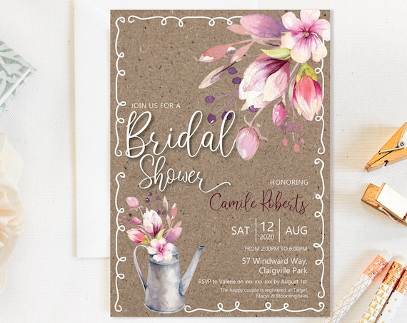 Country Floral Watering Can Bridal Shower Invitation, Kraft Country Flowers Shower Invitation, Printable Bridal Shower, Editable Template