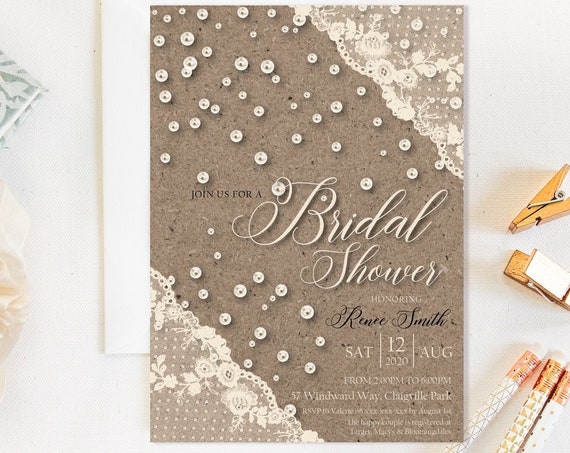 Ivory Lace Pearls Bridal Shower Invitation, Kraft Rustic Cream Shower Invitation, Printable Bridal Shower, Editable Template, Country Charm