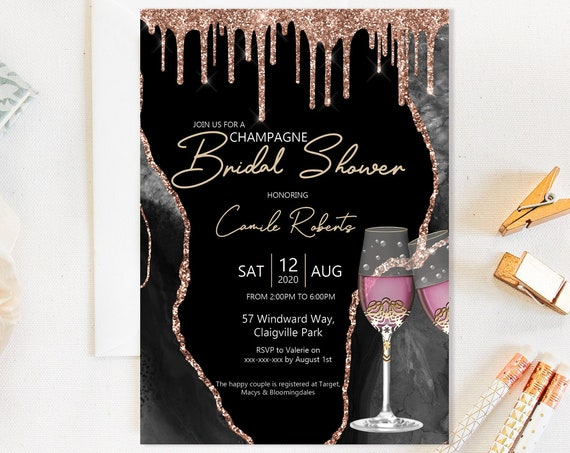 Champagne Rose Gold Bridal Shower Invitation, Glam Shower Invitation, Printable Bridal Shower, Editable Template, Pink Champagne