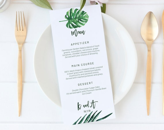 Simple Greenery Wedding Menu, Editable Menu, Menu Cards, Printable Menu, Green Wedding Menu, Party Menu, Tropical Menu Download