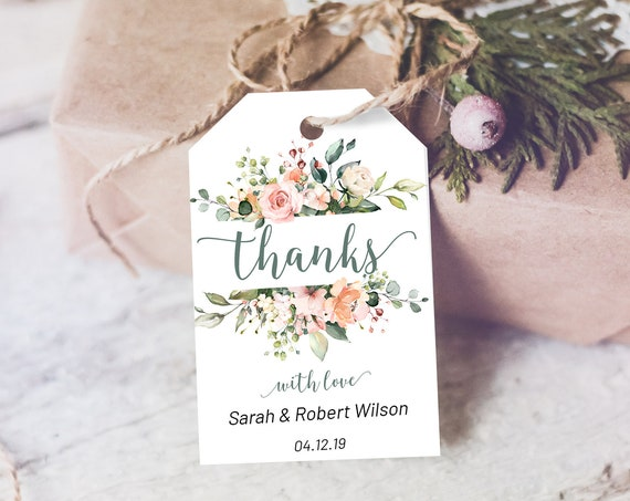 Blush Rose Thank You Tag, Wedding Favors, Floral Thank You Tag, Instant Download, Party Thanks Tag, Bouquet Thanks Label, Green Floral Tag