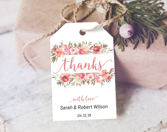 Coral Floral Thank You Tag, Wedding Favors, Floral Thank You Tag, Instant Download, Party Thanks Tag, Pink Thanks Label, Flowers Thanks Tag