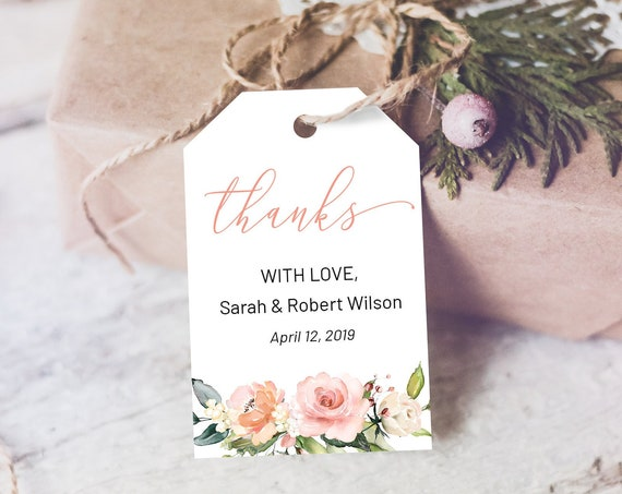 Pink Rose Thank You Tag, Wedding Favors, Floral Thank You Tag, Instant Download, Party Thanks Tag, Pink Thanks Label, Engagement Thanks Tag