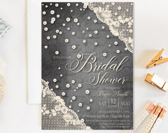 Ivory Lace Pearls Bridal Shower Invitation, Black Rustic Cream Shower Invitation, Printable Bridal Shower, Editable Template, Country Charm