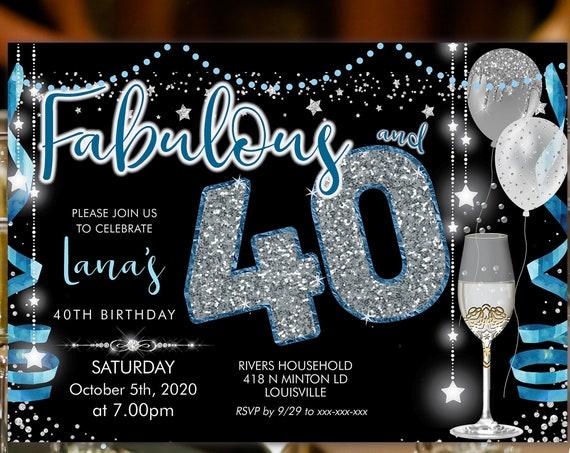 Blue Silver Champagne 40 Birthday Invitation Printable Template, Sparkle Birthday Party Invitation Women, Printable silver stars Invite