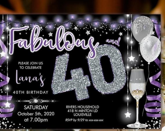 Purple Silver Champagne 40 Birthday Invitation Printable Template, Sparkle Birthday Party Invitation Women, Printable silver lights Invite