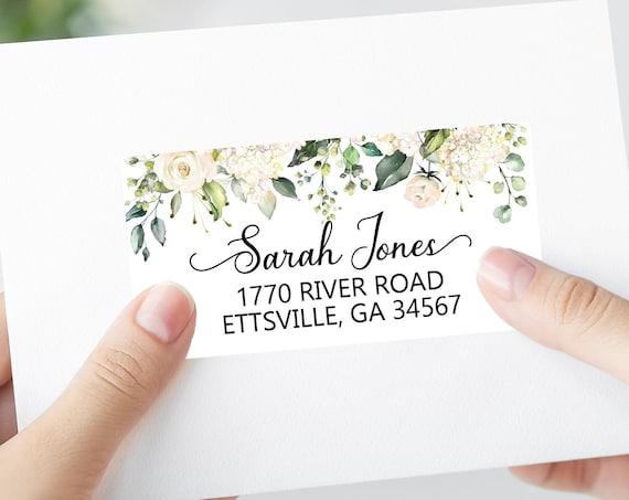 Floral Wedding Shipping Labels, Printable Address Labels Template - DIY Avery 4x2 Address Label - Editable Script Envelope Address Labels