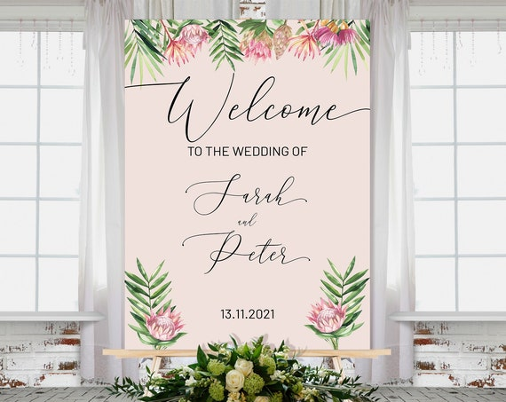 Pink King Protea Wedding Welcome Sign, Modern Tropical, Bridal Sign, Outdoor Sign, Printable, Summer Foliage Wedding