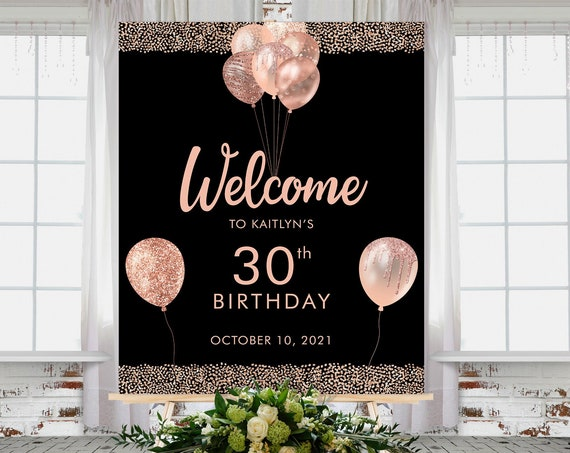 Rose Gold Birthday Balloons Welcome Sign Printable Template, Black Gold Glitter Editable Birthday Party Sign for Women, Printable 18x24
