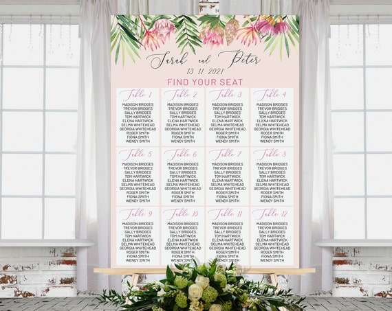 Pink King Protea Wedding Find Your Seat Sign, Modern Tropical, Bridal Sign, Outdoor Seating Sign, Printable, Summer Seats Foliage Wedding