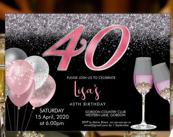 Pink Silver Champagne 40 Birthday Invitation Printable Template, Sparkle Birthday Party Invitation Women, Printable blush glitter Invite