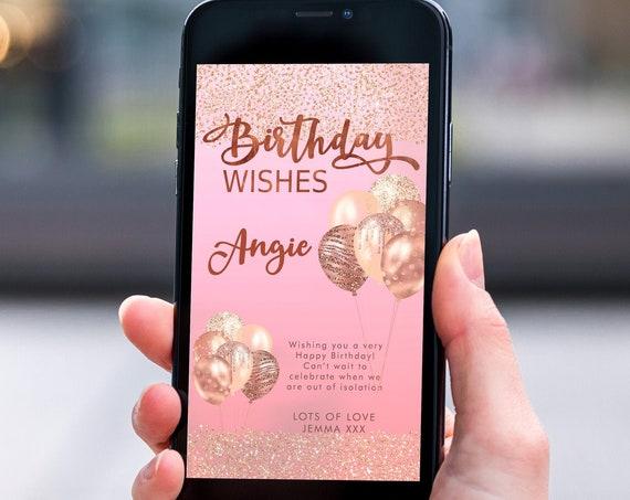 Pink Rosegold Glitter Electronic Birthday, Smartphone SMS Digital Editable template, EcoFriendly, Electronic Balloon eCard Birthday Greeting
