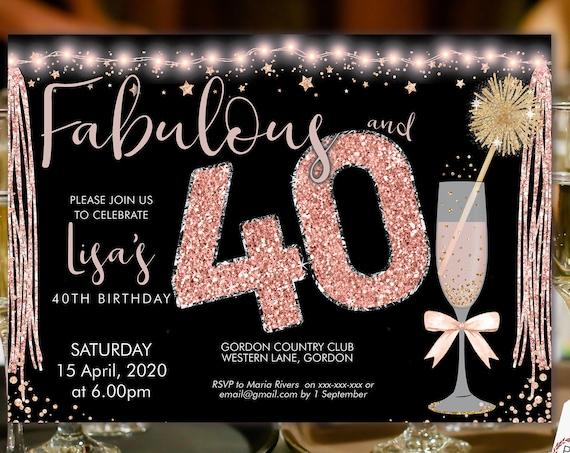 Rosegold Pink Champagne 40 Birthday Invitation Printable Template, Horizontal Birthday Party Invitation Women, Printable gold lights Invite