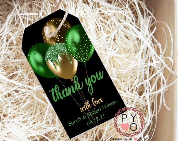 Green Gold Glitter Balloons Thank You Tag, Wedding Favors, Black Thank You Tag, Instant Download, Party Thanks, Thanks Label,Thanks for Gift