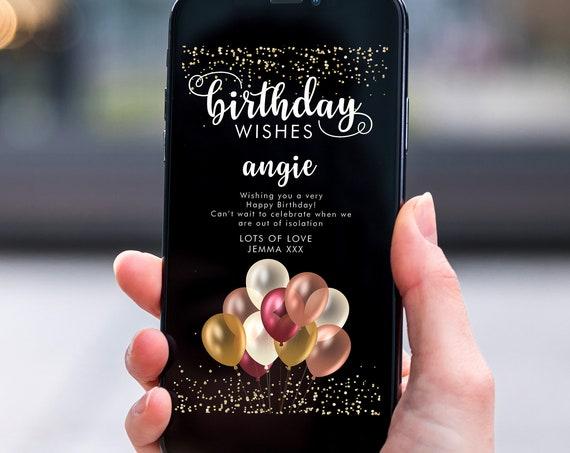 Burgundy Gold Balloons Electronic Birthday, Smartphone SMS Digital Editable template, EcoFriendly, ElectronicGlitter eCard Birthday Greeting