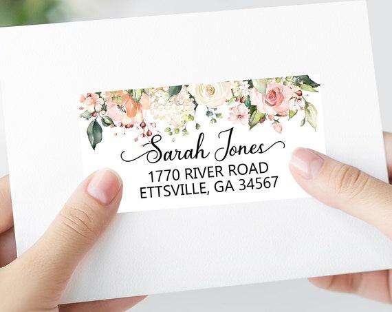 Blush Rose Shipping Labels, Printable Address Labels Template - DIY Avery 4x2 Address Label - Floral Pink Editable Script Envelope Address