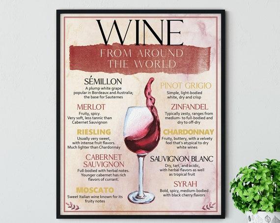Wine Menu Digital Print | Printable Wine Art | Art Print | DIY Wine Types Wall Art | Kitchen Wall Decor | Instant Download | Red Wine Art