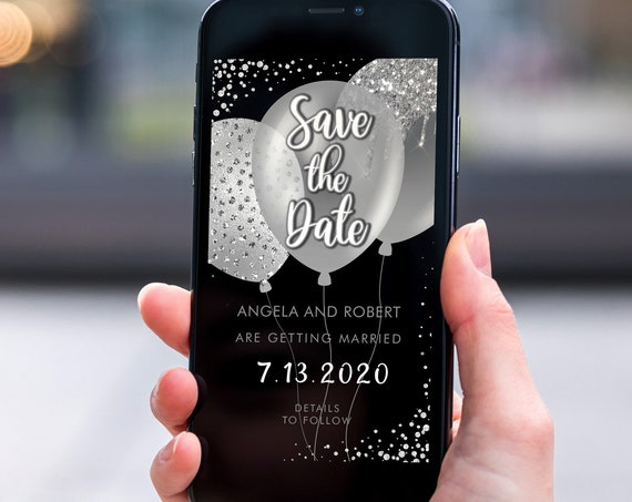 Silver Glitter Balloons Save the Date, Electronic Invite, Glamorous Sparkly Wedding, Smart phone SMS Digital Editable template, Eco Friendly