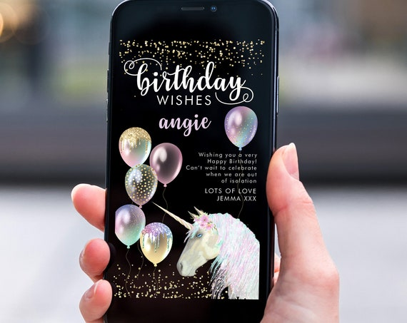 Unicorn Balloons Electronic Birthday, Smartphone SMS Digital Editable template, EcoFriendly, Electronic Gold Glitter eCard Birthday Greeting