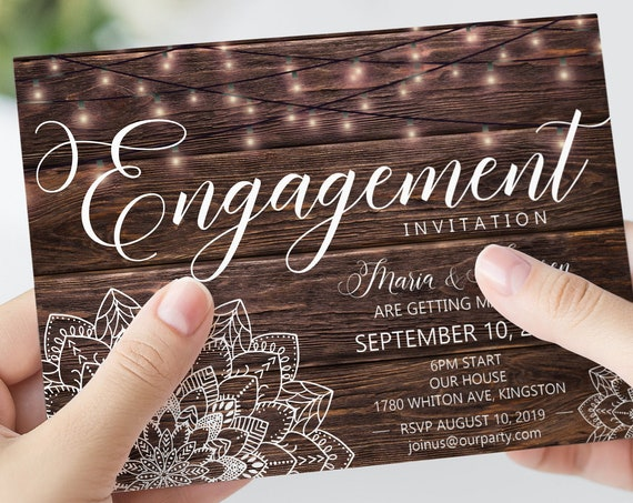 Mandala Engagement Invitation, Party Lights invitation, Woodfence invitation, Rustic Engage Invitation, Boho Wedding, Barn Invitation