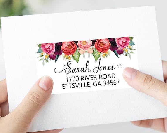 Autumn Floral Wedding Shipping Labels, Printable Address Labels Template - DIY Avery 4x2 Address Label - Editable Script Envelope Address