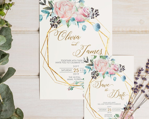 Floral Gold Geometric Wedding Invitation Set • Pink Rose Cream • Watercolor Flower Invite Save the Date Thank You Card • Garden Blush Series