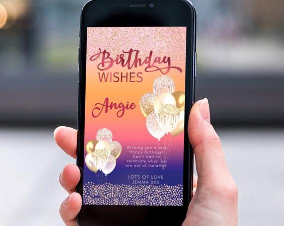 Navy Pink Glitter Electronic Birthday, Smartphone SMS Digital Editable template, EcoFriendly, Electronic Balloon eCard Birthday Greeting
