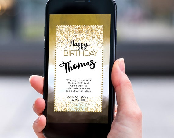 Gold Ombre Glitter Electronic Birthday, Smartphone SMS Digital Editable template, EcoFriendly, Electronic Black Gold eCard Birthday Greeting