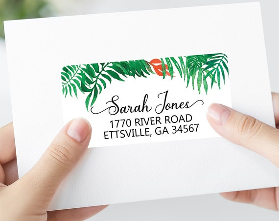 Tropical Leaves Mailing Labels, Printable Address Labels Template - DIY Avery 4x2 Address Label - Palm Tree Editable Script Envelope Address