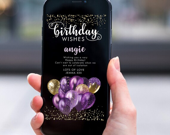Purple Gold Balloons Electronic Birthday, Smartphone SMS Digital Editable template, EcoFriendly, Electronic Glitter eCard Birthday Greeting