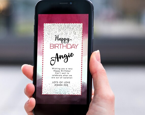 Pink Ombre Glitter Electronic Birthday, Smartphone SMS Digital Editable template, EcoFriendly, Electronic Silver eCard Birthday Greeting