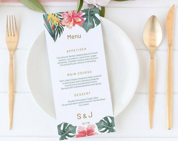 Tropical Floral Wedding Menu, Editable Menu, Menu Cards, Printable Menu, Tropical Beach Wedding Menu, Menu Download, Wedding Table Decor