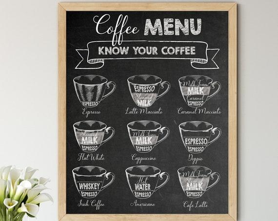 Coffee Menu Digital Print | Printable Coffee Art | Chalkboard Art Print | DIY Coffee Types Wall Art | Kitchen Wall Decor | Instant Download