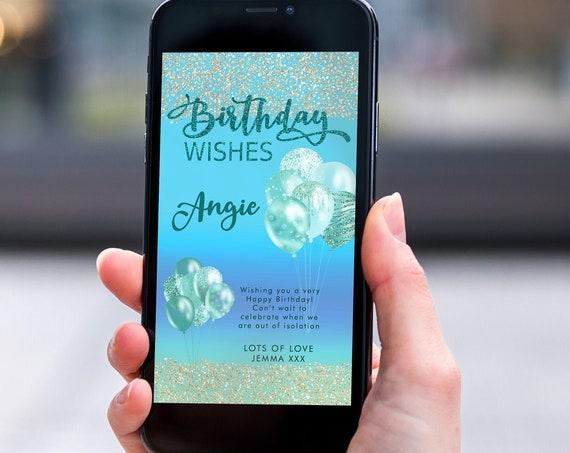 Aqua Blue Glitter Electronic Birthday, Smartphone SMS Digital Editable template, EcoFriendly, Electronic Balloon eCard Birthday Greeting