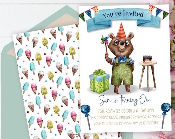 1st Birthday Boys Bear Invitation Printable Template, Editable Invitation, Party Hat First Birthday, Watercolor Cute Green Invite Boys