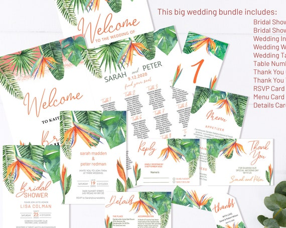 Bird of Paradise Wedding Invitation Bundle, Botanical Wedding, Thank You Tag, Tropical Wedding Menu, Editable Orange Table Numbers, Welcome