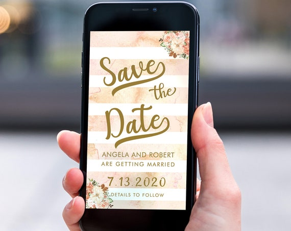 Gold Save the Date, Electronic Invite, Floral Invitation, Stripes Pastel Wedding, Smart phone SMS Digital Editable template, Eco Friendly
