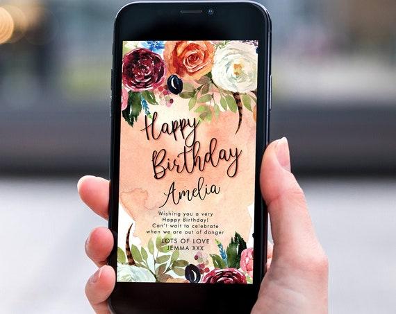 Autumn Fall Floral Electronic Birthday, Smartphone SMS Digital Editable template, EcoFriendly, Electronic Orange Flowers Birthday Greeting
