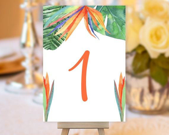 Bird of Paradise Table Number, Greenery Wedding Sign, Botanical Wedding Table Number, Table Sign, Tropical Table Number, Orange Green Number
