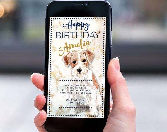 Jack Russell Dog Navy Gold Marble Electronic Birthday, Smartphone SMS Editable template, EcoFriendly, Electronic eCard Birthday Greeting