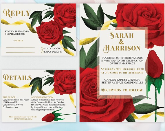 Red Roses Wedding Invitation Set, Beauty Beast Theme Suite, Rehearsal Invitation, Watercolor Red Invitation, Printable, Editable Template