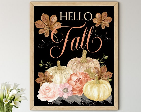 Fall Gold Pumpkins Digital Print | Printable Autumn Art | Fall Art Print | DIY Hello Fall Wall Art | Kitchen Wall Decor | Instant Download